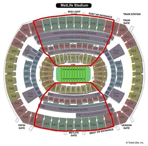 New York Giants Tickets - MetLife Stadium Seating Chart