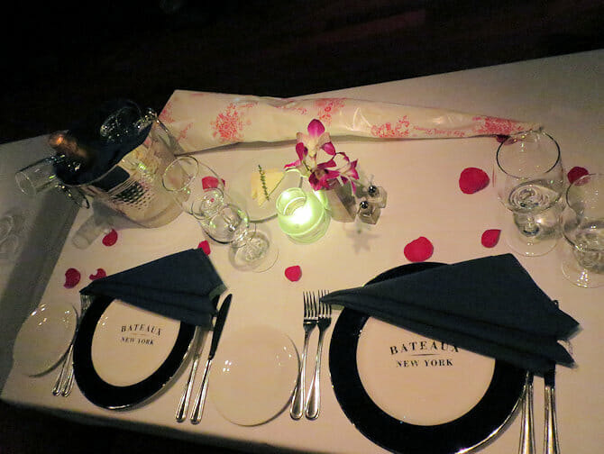 Valentine's Dinner Cruises in New York - table