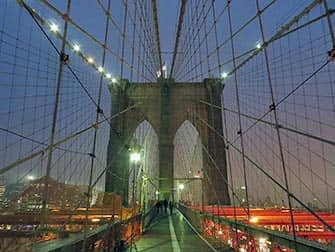 Brooklyn Bridge by night in New York