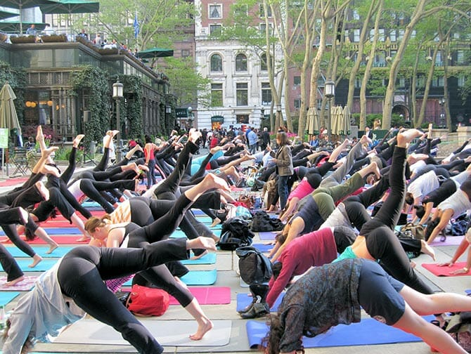 Yoga in Bryant Park in New York