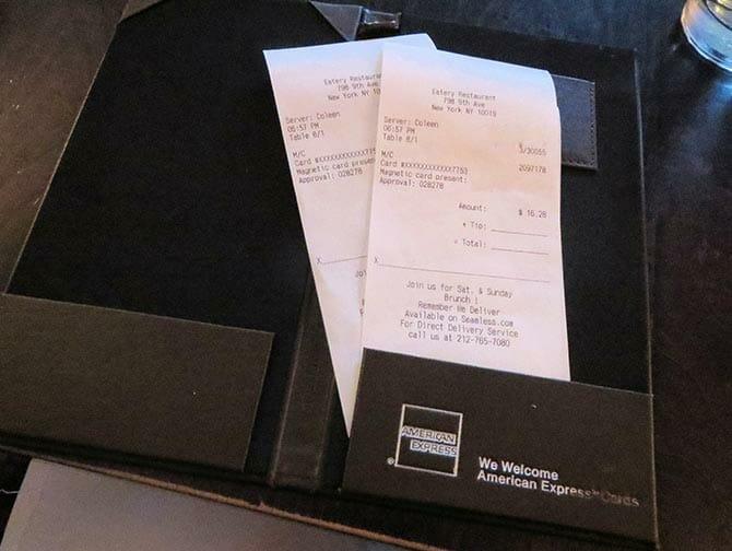 Tipping in New York - bill
