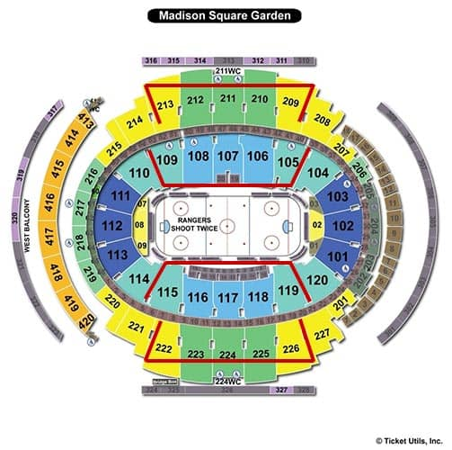 New york rangers tickets for Seating chart for madison square garden