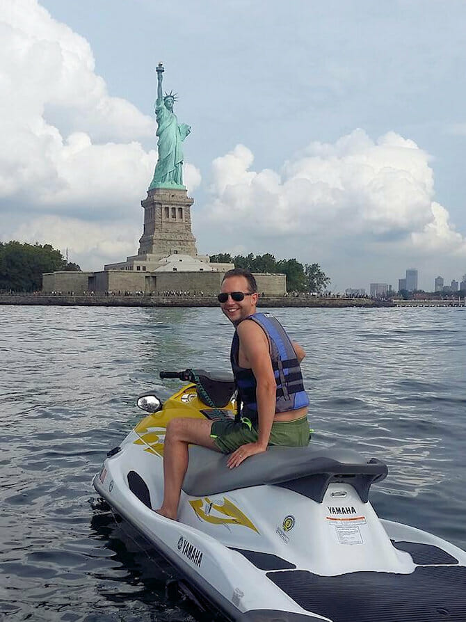 Swimming in New York - jetski